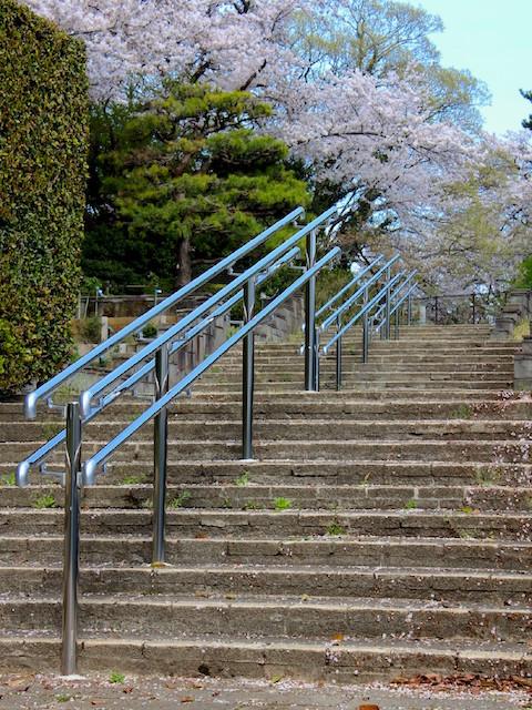 パーゴラに降りる階段の中央にステンレスの手すりを設置